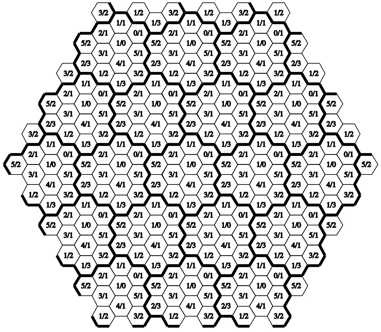 12 distinct hexagons: N = 6